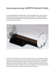 Bedienungsanleitung: LACERTA Sonnen Finder - Teleskop