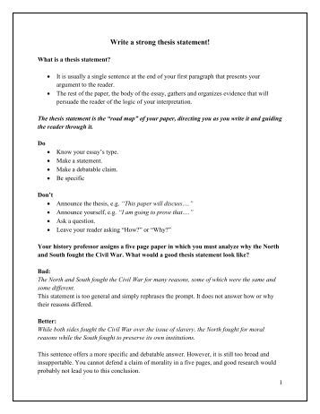 Revising thesis statements worksheet