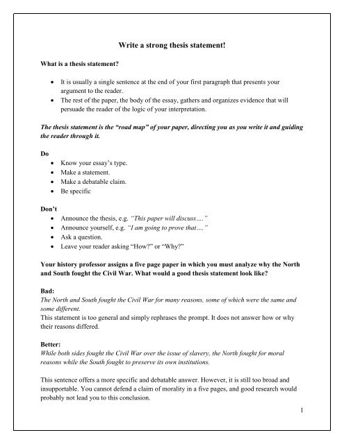 Personal Essay Thesis Statement Examples  English Creative Writing Essays also Sample Proposal Essay Write A Strong Thesis Statement How To Make A Thesis Statement For An Essay