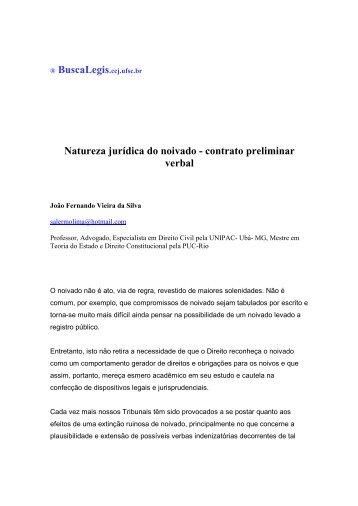 Natureza jurídica do noivado - contrato preliminar verbal - BuscaLegis