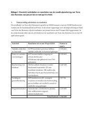 Bijlage I: Overzicht activiteiten en resultaten van de ...