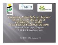 Nemzeti Technológiai Program GAK Kft. 1. éves beszámoló