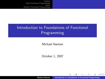 Introduction to Foundations of Functional Programming