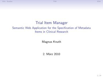Trial Item Manager - Semantic Web Application for the ... - AKSW