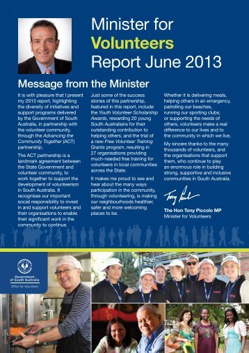 Minister for Volunteers Report June 2013 (PDF 725.8 KB) - Office for ...
