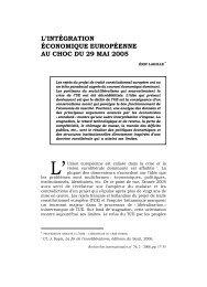 L'intégration économique européenne au choc du 29 mai 2005
