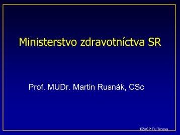Ministerstvo zdravotníctva SR - Katedra verejného zdravotníctva