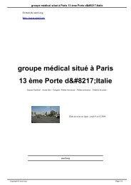 groupe médical situé à Paris 13 ème Porte d'Italie - SNORL