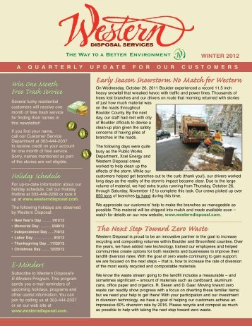Western Disposal Winter 2012 - Western Disposal Services