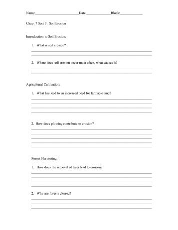 Cause And Effect Worksheets 8th Grade Soil Profile Lab Handout With Questionspdf  Lurgiopodnorth Fraction Worksheet Grade 1 with 6th Grade Algebraic Expressions Worksheets Excel Chapter  Section  Soil Erosion Worksheet  Lurgiopodnorth Kindergarten Writing Worksheets