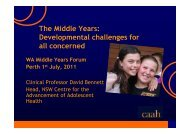 Presentation - Professor David Bennett - Middle Years Forum - 1 ...