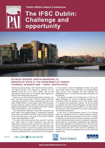 the ifsc Dublin: challenge and opportunity - Public Affairs Ireland