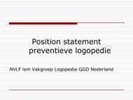 Position statement preventieve logopedie - Logopedie.nl