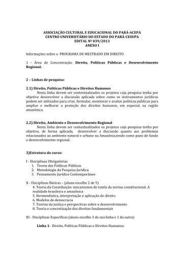 anexo i do edital nº 039/2013. - Cesupa