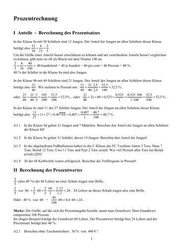 Kompendium Prozentrechnung - OStR Martin Meier
