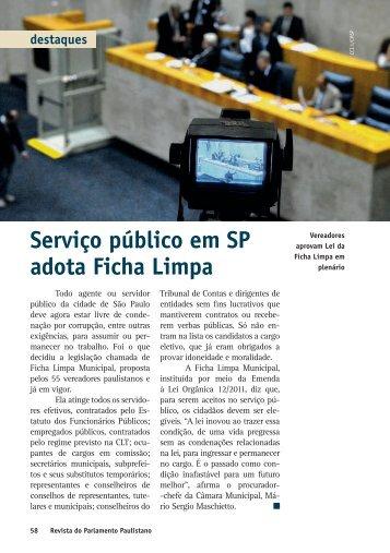 Serviço público em SP adota Ficha Limpa destaques
