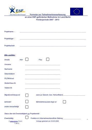 Formular zur TeilnehmerInnenerfassung an ... - ECG GmbH Berlin