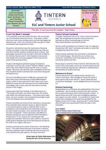 ELC and Tintern Junior School - Tintern Schools