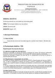 memorial descritivo - Prefeitura Municipal de Itápolis
