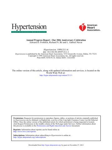 Annual Progress Report: Our 20th Anniversary ... - Hypertension