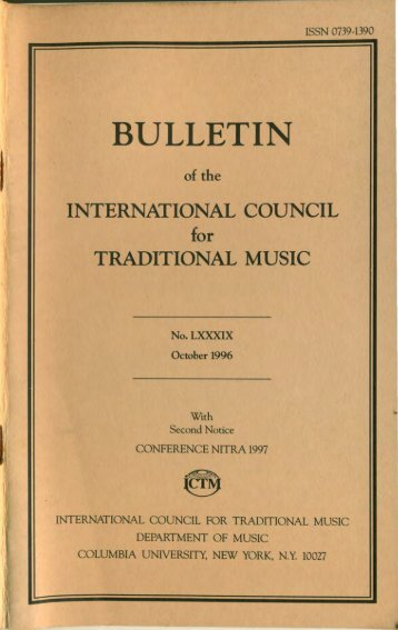 Oct 1996 - International Council for Traditional Music