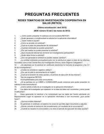 PREGUNTAS FRECUENTES - Instituto de Salud Carlos III