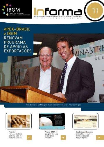 APEX?BRASIL e IBGM RENOVAM PROGRAMA DE APOIO - InfoJoia