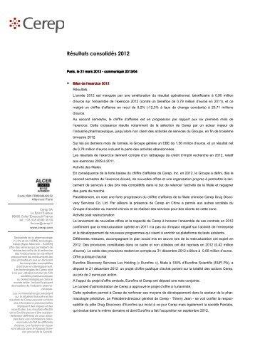 Résultats consolidés 2012 - Cerep