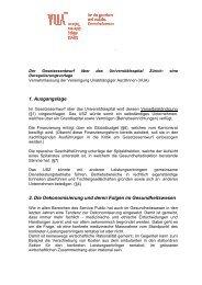 Vernehmlassung der VUA - Über die AGGP