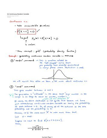 16: Continuous Random Variable Lecture Page 1