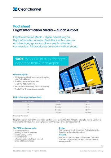Fact sheet Flight Information Media – Zurich Airport ... - Clear Channel