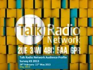 Talk Radio Network Profile Survey #1 2008 13th January – 9th ...