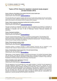 Topics of Ph.D. thesis for students in doctoral study program 2013