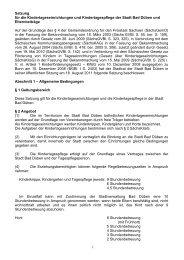1 Satzung für die Kindertageseinrichtungen und ... - Bad Düben