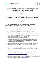 Checkliste für die Umstellungsphase - EUCAST Blättchendiffusionstest