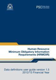 HRMOIR Data Definitions version 1.5 - Public Sector Commission
