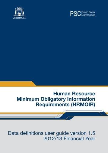 HRMOIR Data Definitions version 1.5 - Public Sector Commission