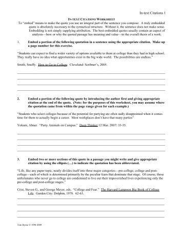 Printables Mla Citation Worksheet mla in essay citation text worksheet middle school worksheets