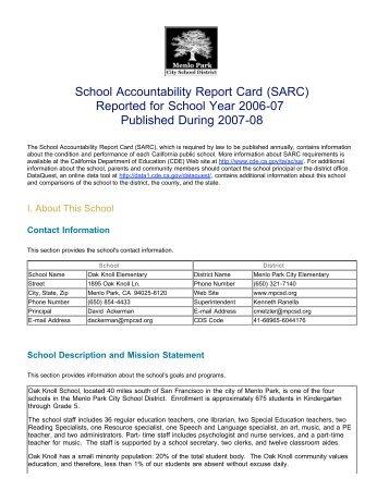 2006-07 SARC - Menlo Park City School District
