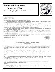 Jan 09 newsletter.pub - Redwood Empire Quilters Guild