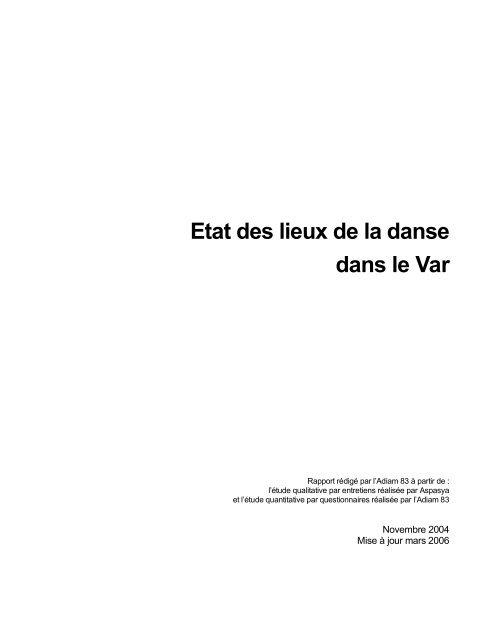 Etat des lieux de la danse dans le Var 2004 ... - Arcade PACA