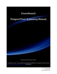 DonorSearch ProspectView Screening Manual - SofterWare