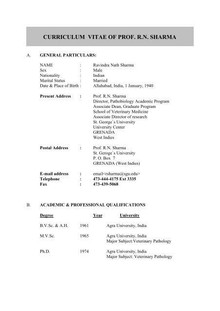 Curriculum Vitae Of Prof Rn Sharma St George S University