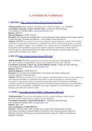 a. contracte nationale - UBM :: Departamentul de Chimie-Biologie