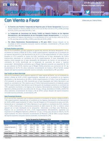 Nota de Empresa - Sector Aeropuertos: Preliminares 2T13 - Monex