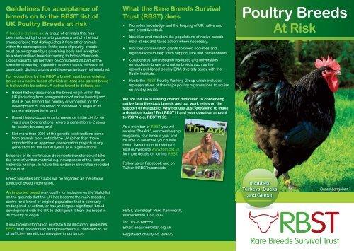 Poultry Breeds at Risk - Rare Breeds Survival Trust