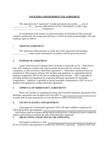 Equipment Use Agreement 2001