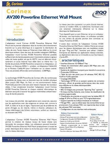 AV200 Powerline Ethernet Wall Mount - Corinex