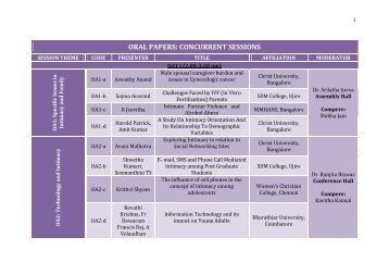 ORAL PAPERS: CONCURRENT SESSIONS - Christ University