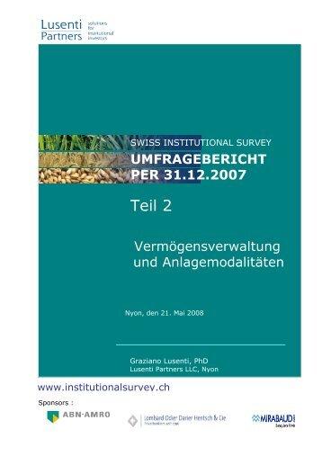 Bericht per 31.12.2007 - Fokusthema.pdf - Swiss Institutional Survey